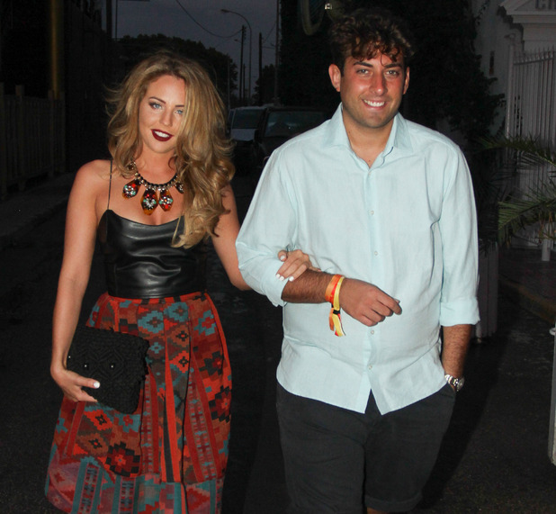 Lydia Bright and James Arg Argent arrive at Es Paradis, Ibiza, Spain 25 September