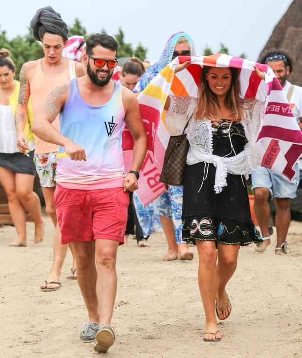 TOWIE, Jess Wright and Ricky Rayment caught in rain in Ibiza, Spain 22 September