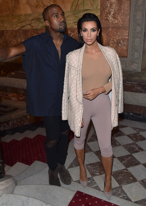 Kim Kardashian West and Kanye West attend the Balmain after party during Paris Fashion Week - 25 September 2014