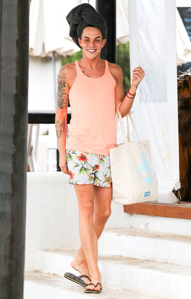 The Only Way Is Essex cast in Ibiza, Spain - 22 Sep 2014 Bobby Norris beats the rain!