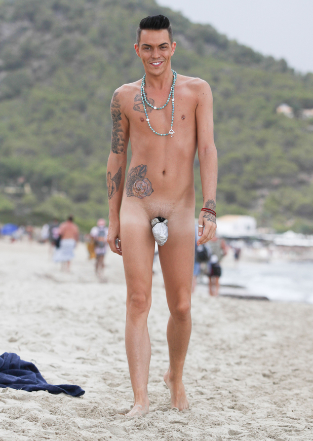 Bobby Norris sports the latest craze in beach wear - the bobby ball bag, customised with bling to reflect the light and increase your tan, as the TOWIE cast spend time at Es Cavallet beach, 24 September 2014