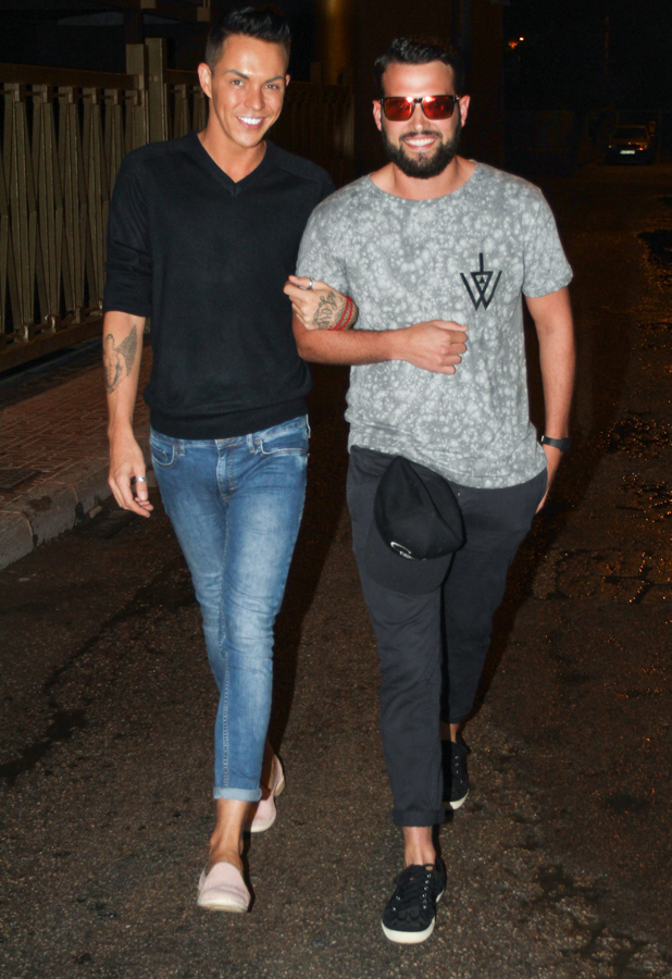 The Only Way Is Essex cast arrive for a night out at Es Paradis, Ibiza, Spain - 25 Sep 2014 Bobby Cole Norris and Ricky Rayment