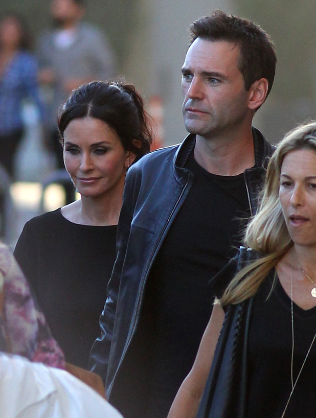 Courteney Cox and Johnny McDaid are seen at 'Jimmy Kimmel Live' on September 22, 2014 in Los Angeles, California. (Photo by JB Lacroix/GC Images)