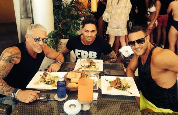 TOWIE in Ibiza: Mario Falcone, Elliott Wright and Wayne Linekar enjoy lunch at Ocean Beach