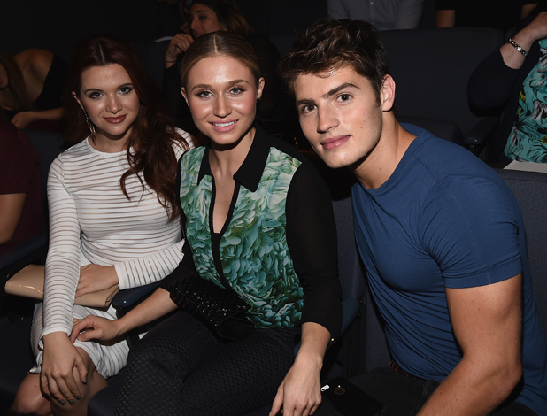 Actress Katie Stevens, actress Rita Volk and actor Gregg Sulkin of MTV's 'Faking It' receive a ceremonial key to the city of West Hollywood during a City Council Meeting on September 22, 2014 in West Hollywood, California. (Photo by Michael Buckner/Getty Images for MTV)