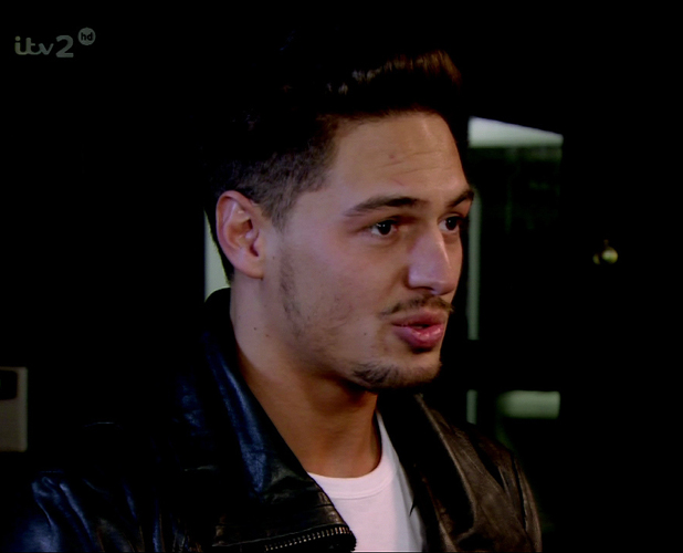 The Only Way Is Essex. Shown on ITV2 HD Mario Falcone visits Joey Essex at his shop and hands him a bottle of Champagne, episode aired 2013