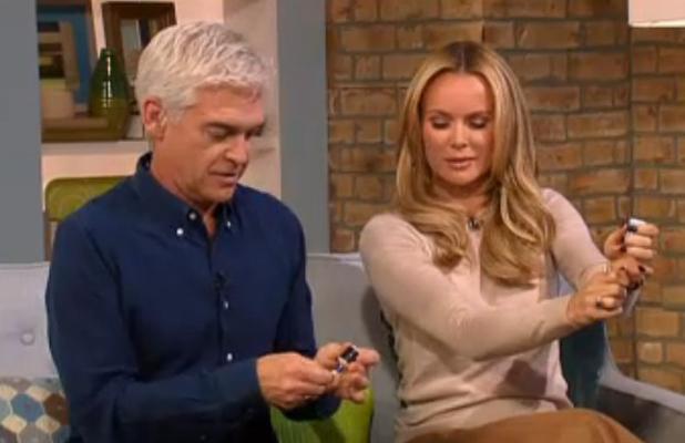Phillip Schofield and Amanda Holden celebrate Rylan Clark's engagement on This Morning, 22 September 2014