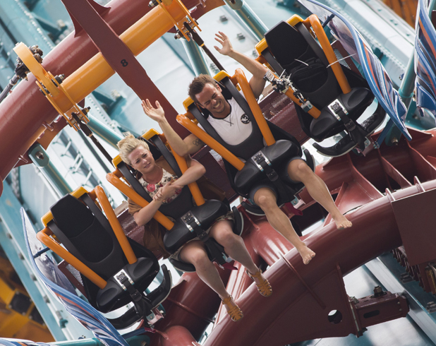 Tom Daley and Sophie Lee ride Falcony's Fury at Busch Gardens Tampa, September 2014