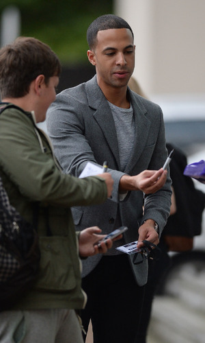 Marvin Humes leaving The Lowry Hotel for first day of The Voice UK series four - 30/09/2014.