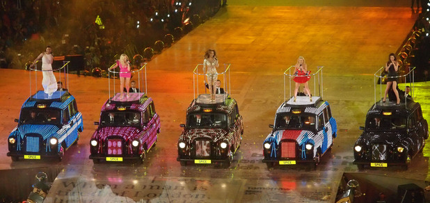 Spice Girls perform at the London Olympics Closing Ceremony 2012