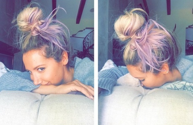 Ashley Tisdale debuts new purple hair 29 September