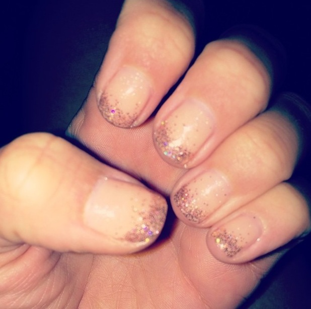 TOWIE's Lydia Bright showcases her silver glitter tip manicure in an Instagram picture - 2 October 2014