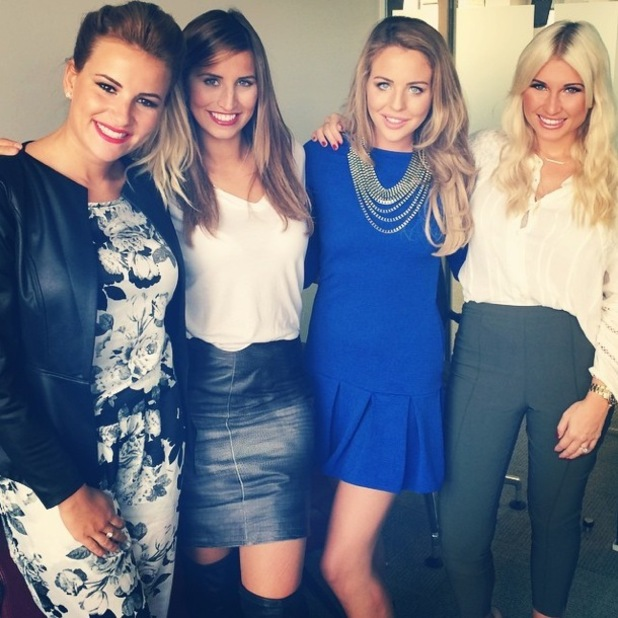 TOWIE's Billie Faiers, Ferne McCann, Lydia Bright and Georgia Kousoulou pose for an Instagram picture before a day of press - 2 October 2014