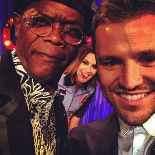 Mark Wright and Caroline Flack meet Samuel L Jackson while filming Chatty Man - 2 Oct 2014
