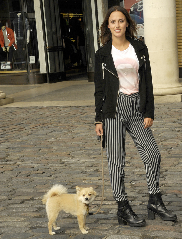 MIC Lucy Watson promotes PETA campaign with dog Digby, Covent Garden, London 1 October