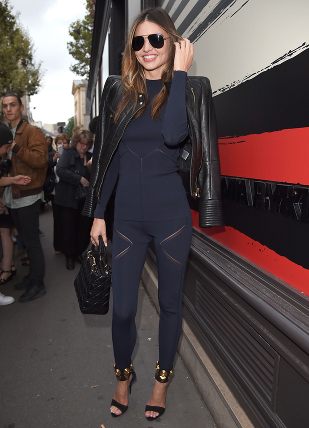 Miranda Kerr wears a navy two-piece while out at Paris Fashion Week - France - 29 September 2014