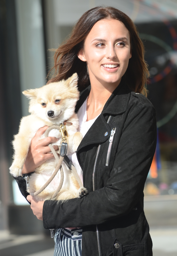 Lucy Watson promotes PETA campaign with dog Digby in Covent Garden, London 1 October