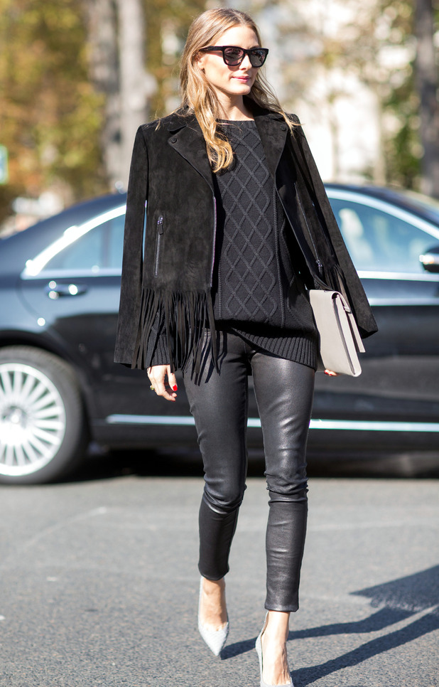 Olivia Palermo wears head-to-toe black during Paris Fashion Week - France - 1 October 2014