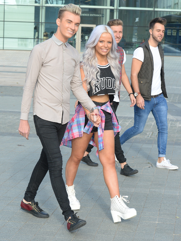 Harry Derbidge filmed arriving for the first day of auditions for The Voice at MediaCityUK, 30 September 2014