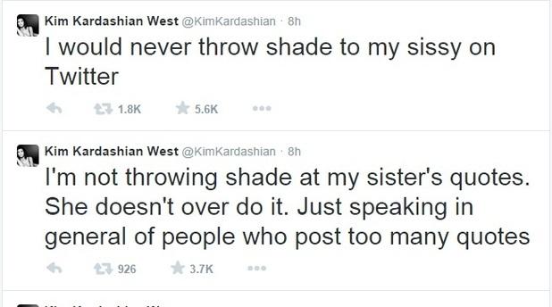 Kim Kardashian denies criticising Khloe Kardashian on Twitter, 6 October 2014