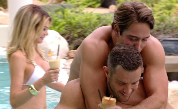 The Only Way is Ibiza: Elliott Wright gives James Lock a piggy back. Episode airs: Wednesday 8 October.