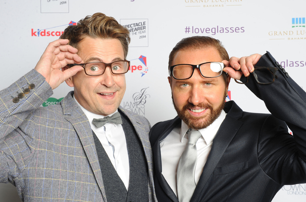 Gogglebox stars Christopher Steed and Stephen Webb attend the Spectacle Wearer Of the year Awards at 8 Northumberland Avenue on October 7, 2014 in London, England.
