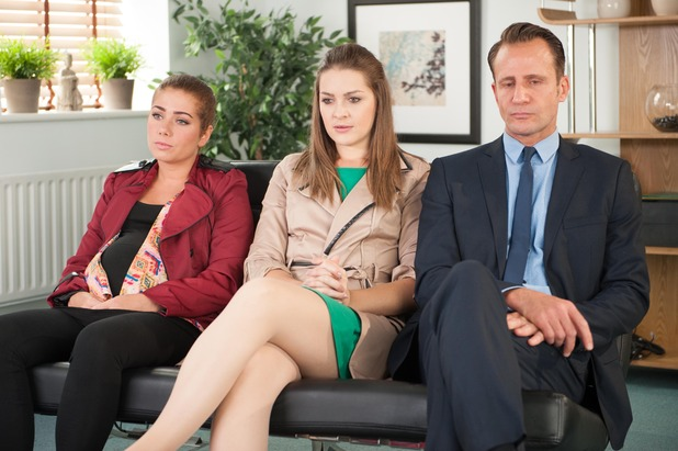 Hollyoaks, Maxine, Patrick and Sienna at counselling, Fri 10 Oct
