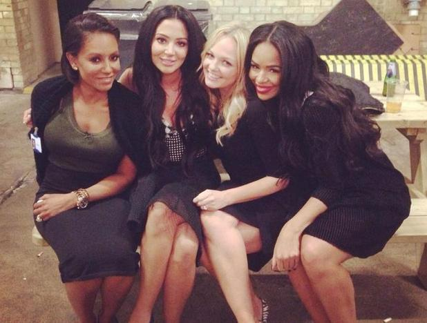 Tulisa hangs out with Mel B, Sarah-Jane Crawford and Emma Bunton at Celebrity Juice - 8 Oct 2014