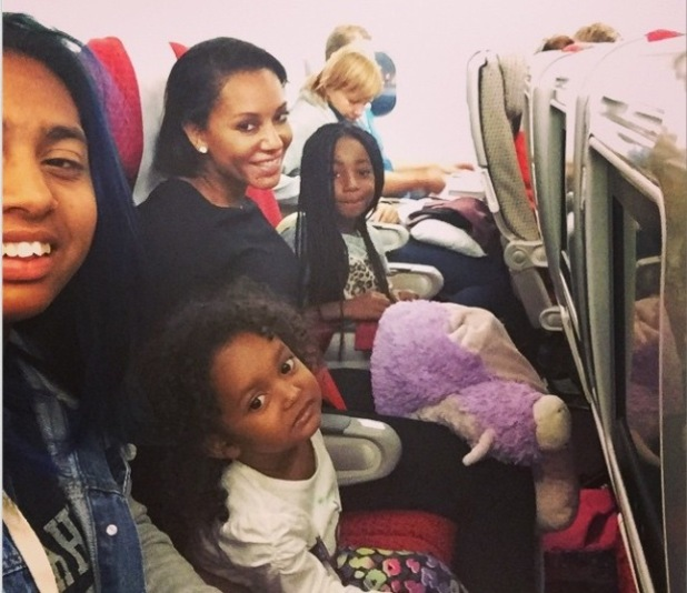 Mel B and daughters Phoenix, Angel and Madison fly to London for X Factor live shows - 7 Oct 2014
