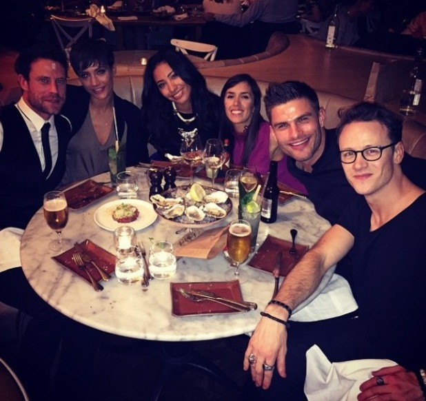 Frankie Bridge and Wayne Bridge dine out with Strictly Come Dancing pro Kevin Clifton - 9 October.