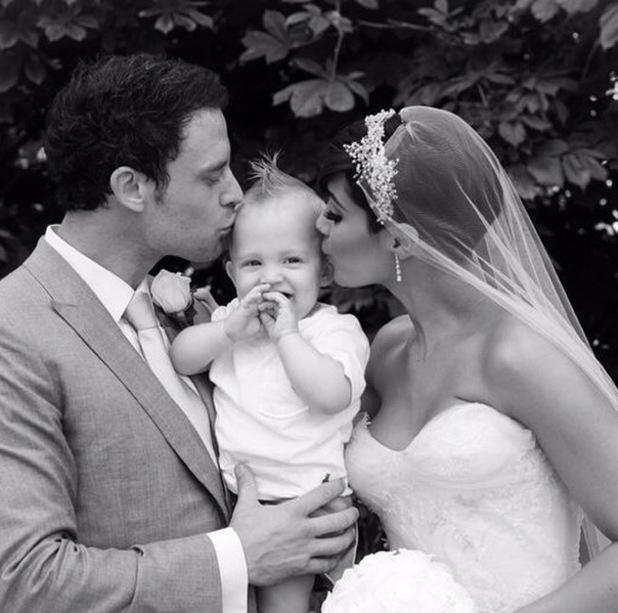 Frankie Bridge shares wedding photo with Wayne Bridge and son Parker, Woburn Abbey, Bedfordshire 6 October