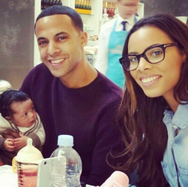 Marvin and Rochelle Humes meet Oritse Williams and AJ Azari's baby son Omré - 4 October 2014.