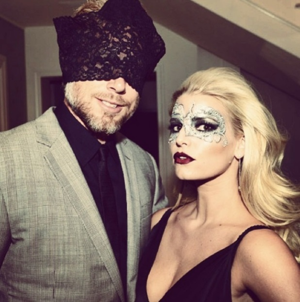 Jessica Simpson's husband Eric Johnson wears her knickers on his head at party, 6 October 2014