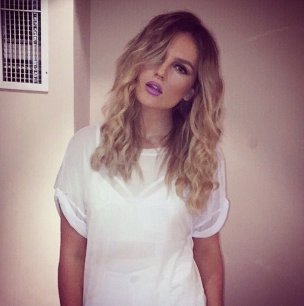 Little Mix's Perrie Edwards shows off make-up look with purple lipstick, by make-up artist Adam Burrell - 4 October 2014