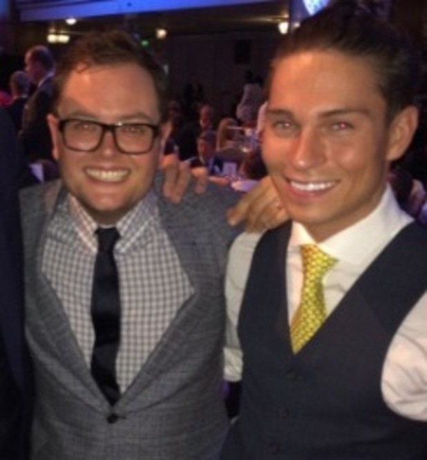 Joey Essex hangs out with Alan Carr at the Pride Of Britain Awards in London, 6 October 2014
