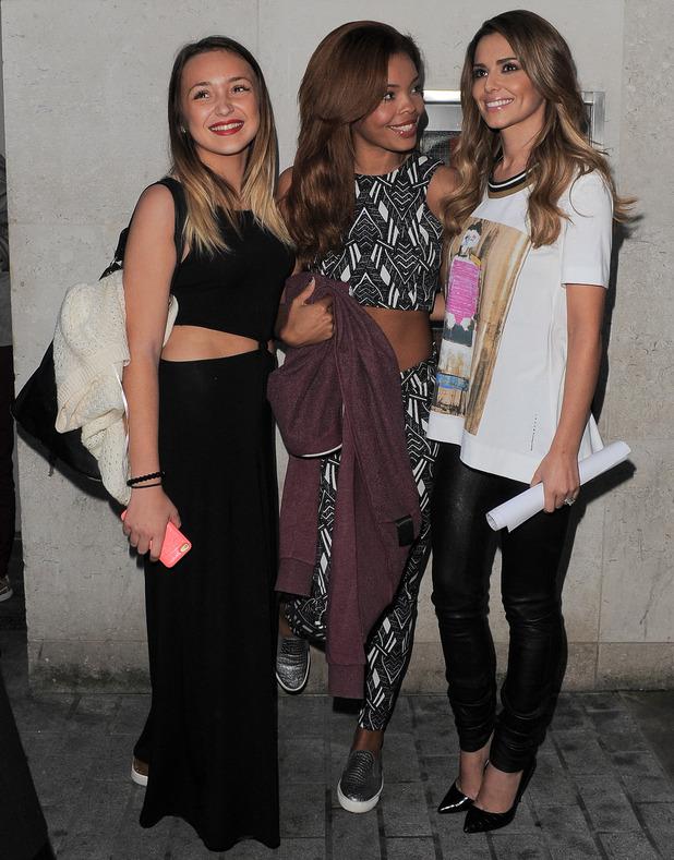 'The X Factor' female finalists at Radio 1 - Stephanie Nala, Chloe-Jasmine, Lauren Platt - with Cheryl Fernandez-Versini, 8 October 2014