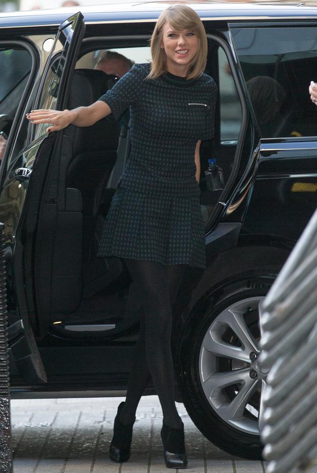 Taylor Swift arrives at Radio 1, BBC Studios, London 9 October