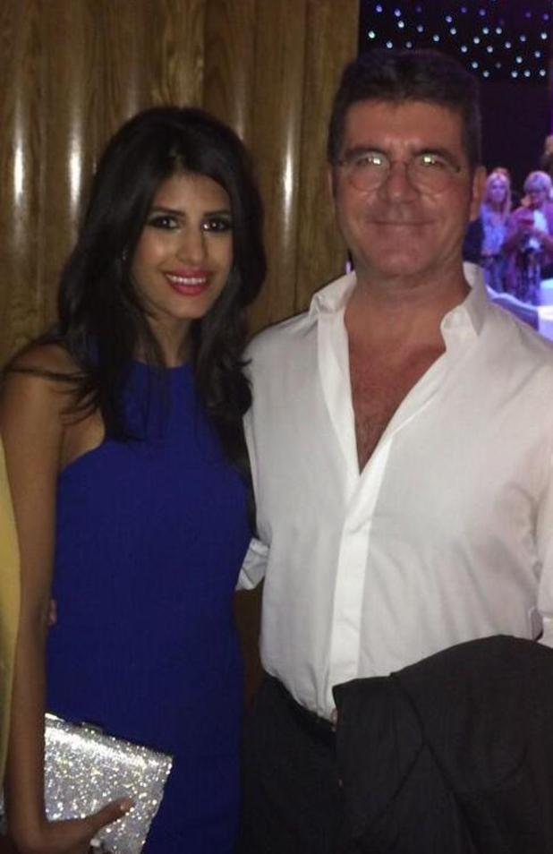 TOWIE's Jasmin Walia bumps into Simon Cowell at the Pride of Britain Awards - 6 October 2014.