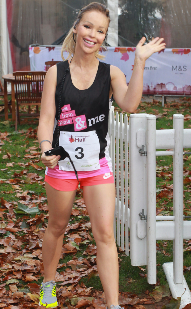 Katie Piper runs Royal Parks half marathon, 12 October 2014