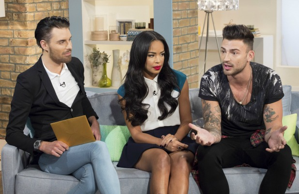 This Morning' TV Programme, London, Britain - 06 Oct 2014 Rylan Clark, Sarah-Jane Crawford and The X Factor finalist Jake Quickenden 6 Oct 2014