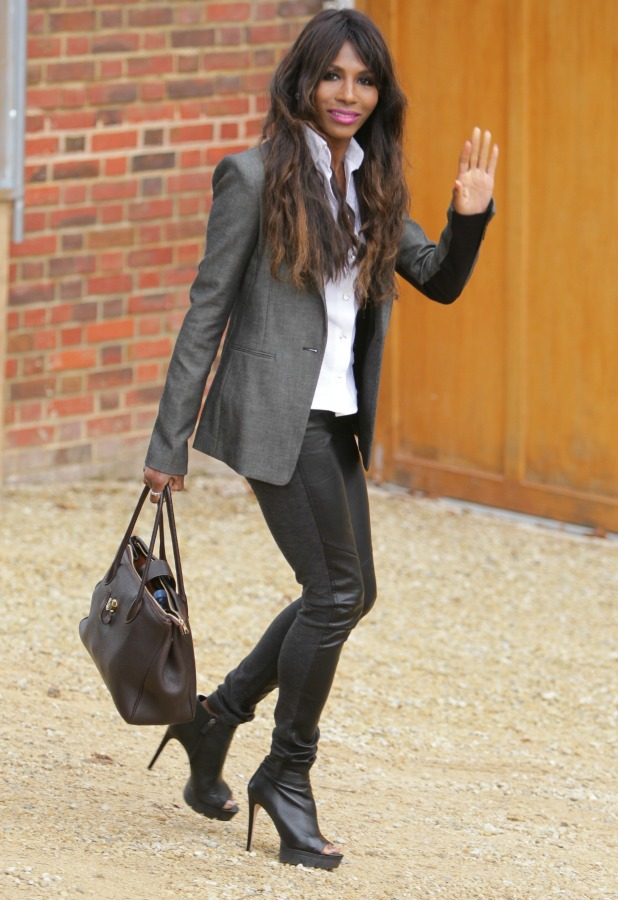 Sinitta arrives to visit the x Factor finalists at the house on Simon Cowell's 55th birthday, 7 October 2014