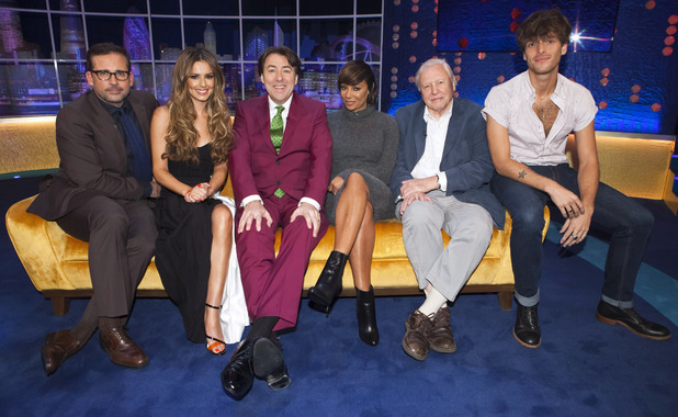 Cheryl Fernandez-Versini appears on 'The Jonathan Ross Show' alongside Steve Carell, Melanie Brown, Sir David Attenborough and Paolo Nutini, 18 October 2014