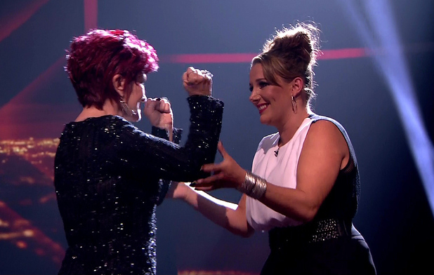 Sam Bailey and mentor Sharon Osbourne on The X Factor, ITV 10 December 2013