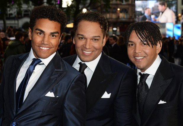 Taryll Jackson, TJ Jackson and Taj Jackson of 3T attend the UK premiere of 'X-Men: Days Of Future Past' at the Odeon Leicester Square on May 12, 2014 in London, England.