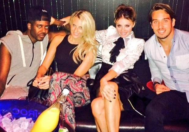 TOWIE's Vas J Morgan, Danielle Armstrong, Chloe Sims, James Lock film together at Freedom bar - 15 Oct 2014