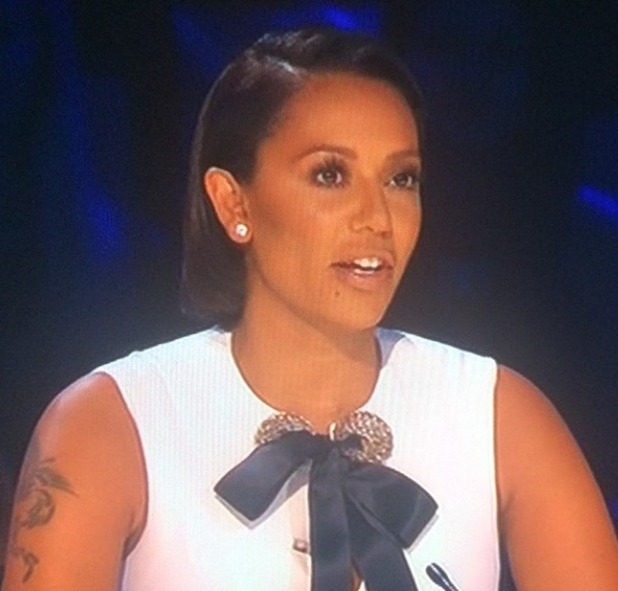 Mel B on first live show of The X Factor, 11 October 2014