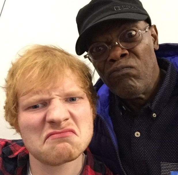 Ed Sheeran takes selfie with Samuel L. Jackson after his London concert - 16 October.