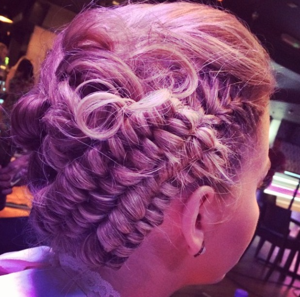 Lydia Bright works a plaited updo for TOWIE filming, 12 October 2014