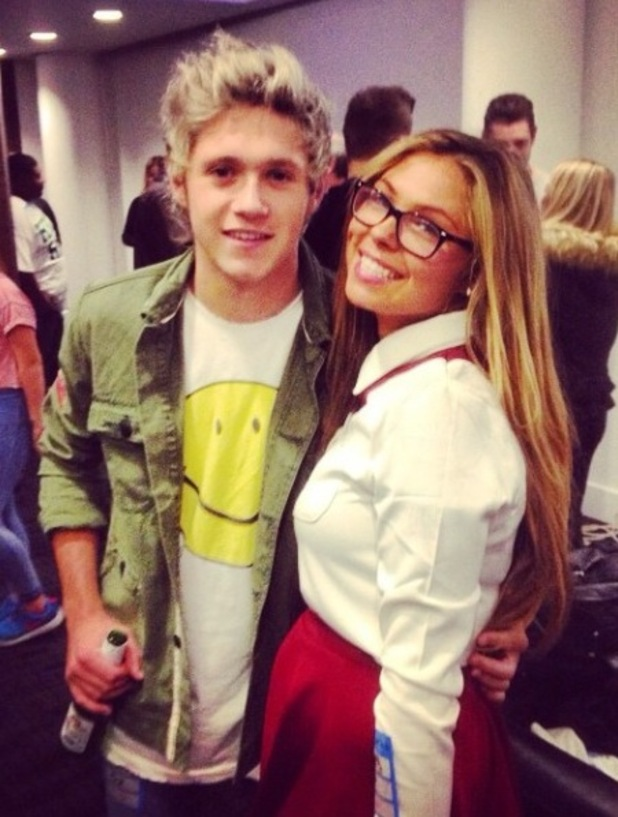 TOWIE's Fran Parman grabs a backstage picture with One Direction's Niall Horan at Ed Sheeran's London concert - 15 October.