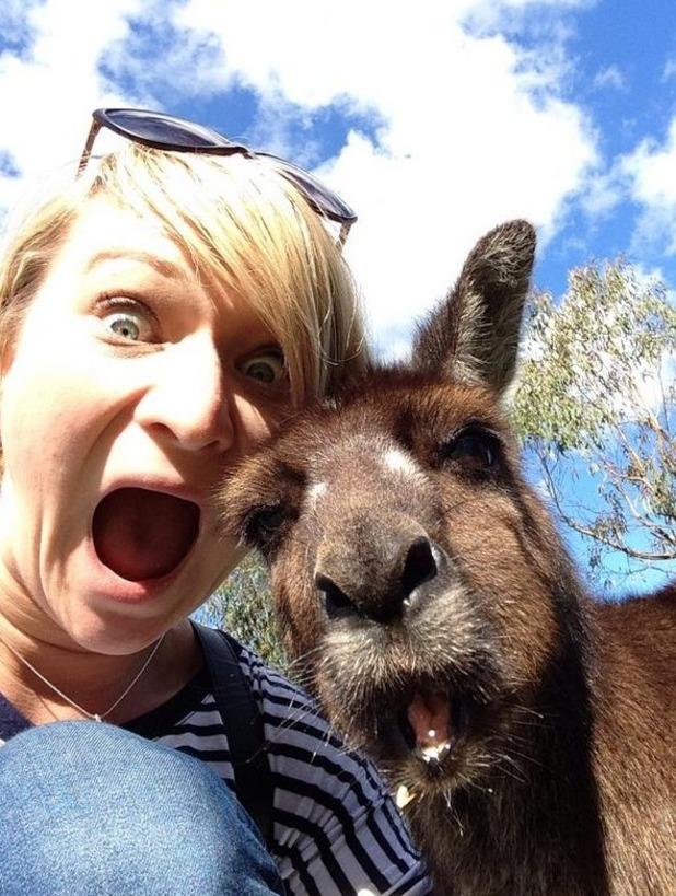 Anna Webb in kangaroo selfie